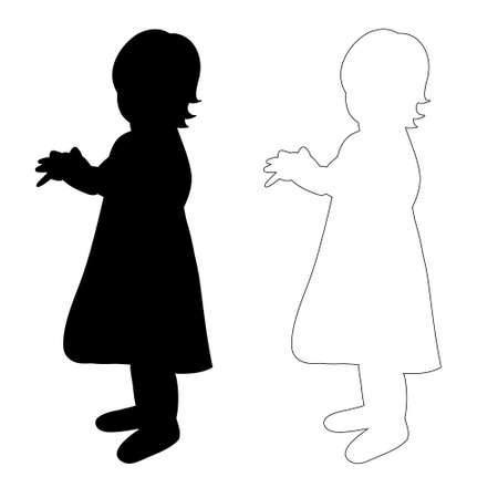 sketch and silhouette of a little girl