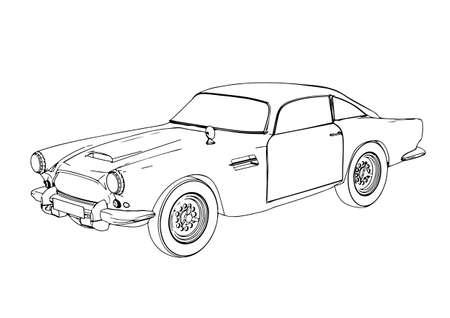 sketch retro car vector