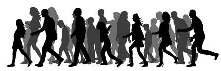Vector, isolated silhouette of a walking crowd of people