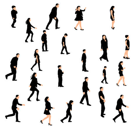 Vector, isolated silhouette people walking sideways set