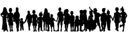 vector isolated silhouette of a crowd of children, collection