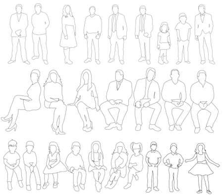 Vector, illustration, outlines of people, girls, men, children, people sketches 向量圖像