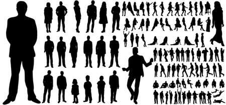 silhouettes set of people, a collection of silhouettes of men, women and children Vektorgrafik