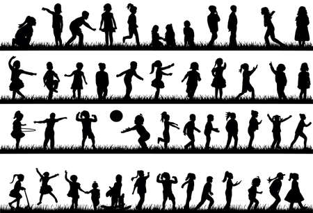 silhouette of children dancing, playing and jumping on the grass, collection
