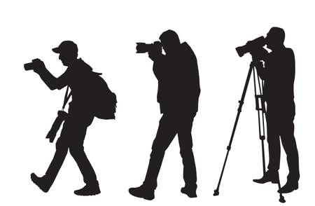 Vector, illustration, silhouette of photographer, videographer