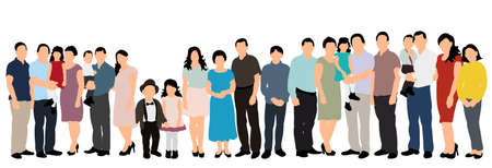 silhouette people, crowd, white background, flat style