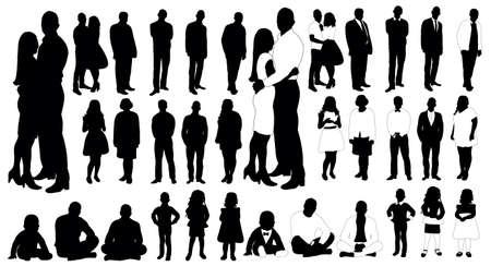 Set of people silhouettes, vector Vektorové ilustrace