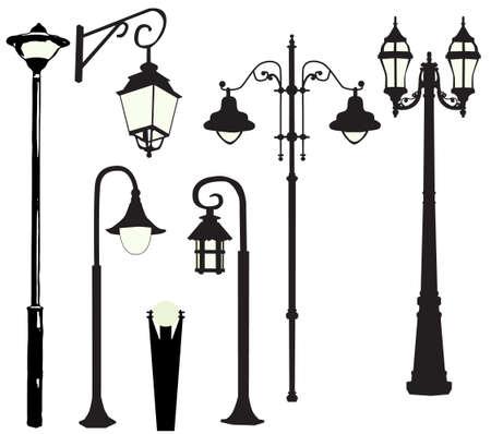 Vector, illustration, silhouette of street lamps, burn