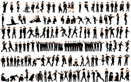 Vector, silhouette of children, big collection, children play and dance