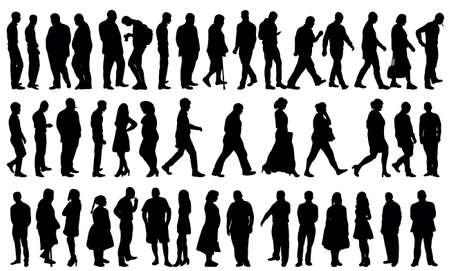 silhouette people collection, set Vektorové ilustrace