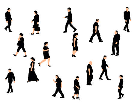 set of silhouettes of walking people, vector