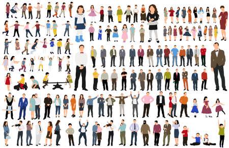 isolated, collection isometric people, flat style Ilustracje wektorowe