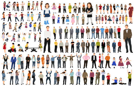 isolated, collection isometric people, flat style Vector Illustration