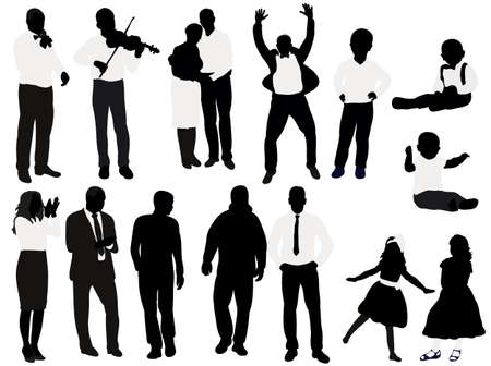 Vector, isolated, black and white silhouette people, collection, set