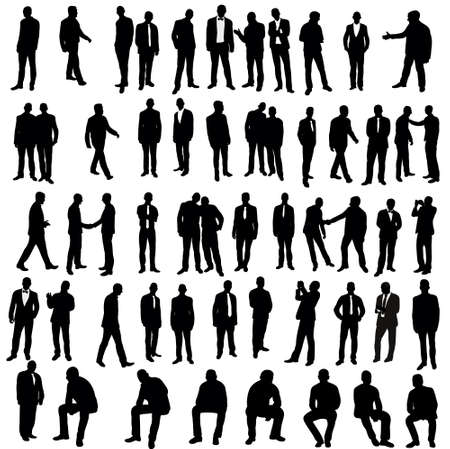 Vector, isolated, silhouette of man, go stand, set