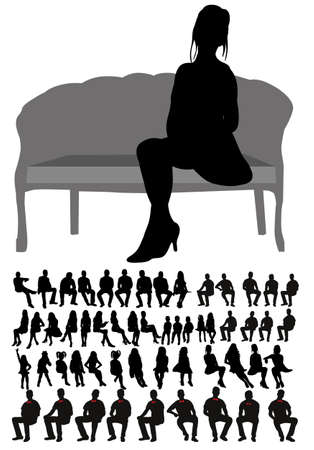 Vector, isolated, silhouette of people sitting collection Vecteurs