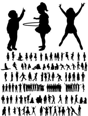 Set of silhouettes of children playing, childhood, vector