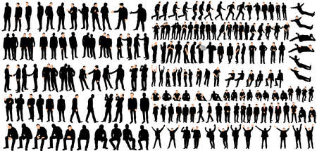 Vector, isolated, men business silhouettes, go and stand, collection