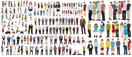 vector isometrically isolated people, flat style