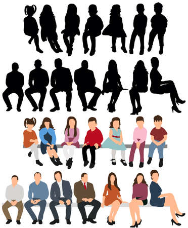 Vector, isolated, a collection of silhouettes of people sitting Ilustração Vetorial