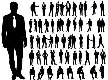 Vector, isolated, a collection of silhouettes of men, business, stand, sit Векторная Иллюстрация