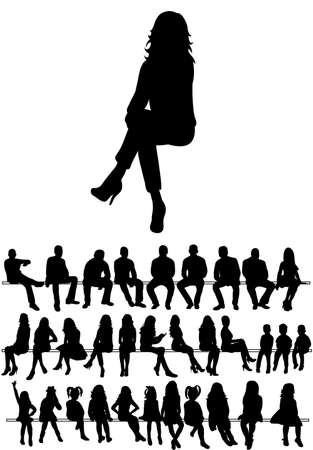 Vector, isolated, collection of silhouettes people men and women sitting