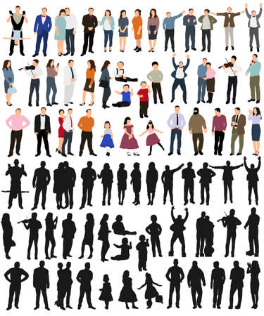 isolated, silhouette people collection, set of silhouettes of isometric people