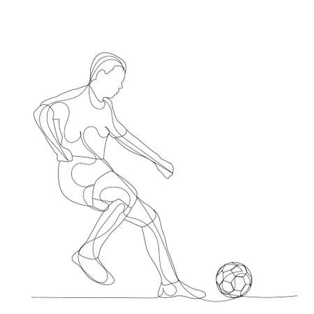 vector, on a white background, sketch of a soccer player with a ball