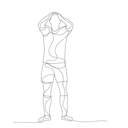 vector, isolated, line drawing of a man standing Ilustracja