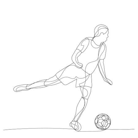 sketch of a soccer player with a ball