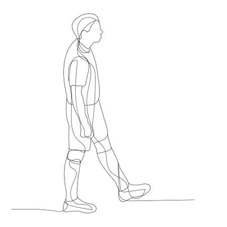 vector, isolated, line drawing of a man walking