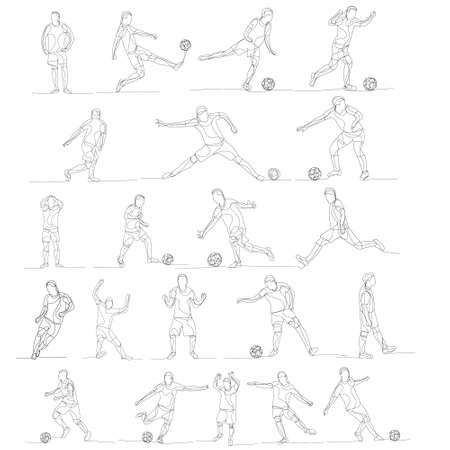 line drawing of a soccer player, set