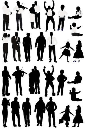 silhouette of people collection, set of silhouettes