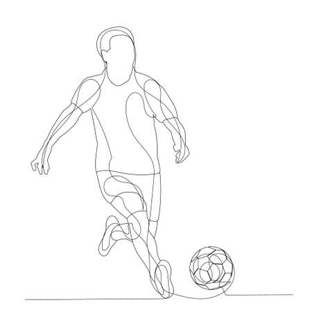 white background, sketch of a soccer player with a ball Ilustracja