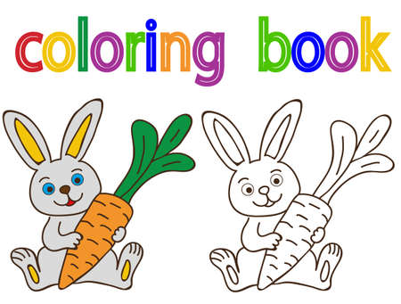 vector, on white background, book coloring hare with carrot