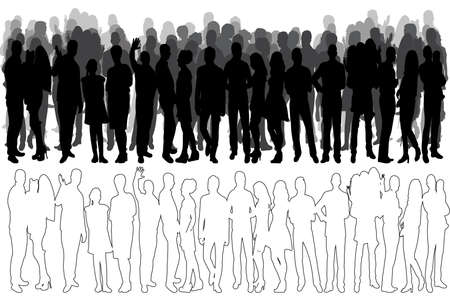 sketch of a crowd of people, silhouette, collection, vector