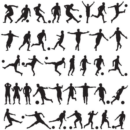 vector, white background, soccer players silhouettes set