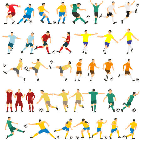 vector, on a white background, soccer players in a flat style, set