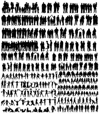 vector, isolated, people silhouettes set