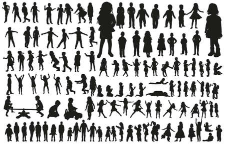 large collection of silhouettes of children Векторная Иллюстрация