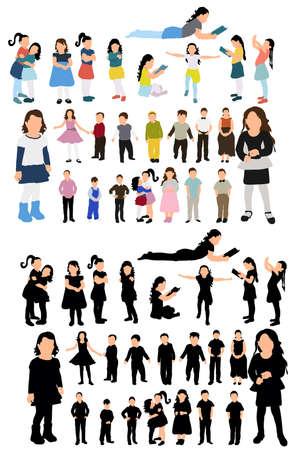 isometric people, children, silhouette