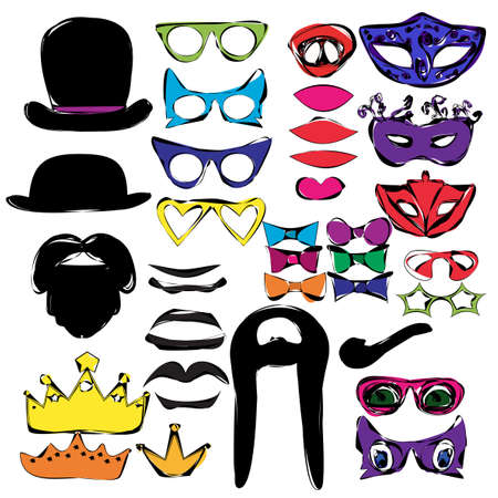 vector, isolated set for masquerade, photo shoot Vector Illustration