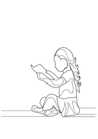 sketch of a child reading, vector