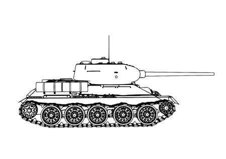 Russian tank sketch vector Vetores