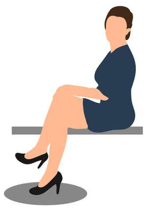 girl sitting, flat style, isolated