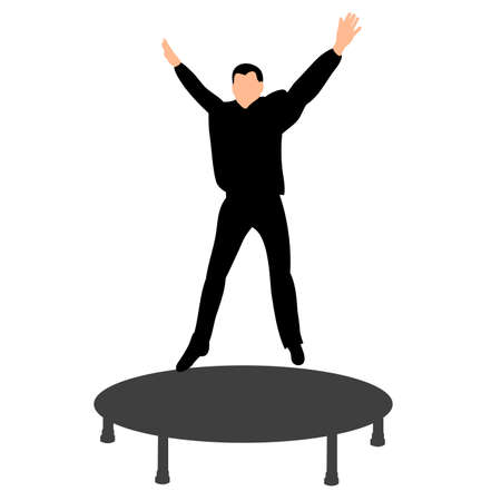 vector isolated silhouette of a boy jumping on a trampoline fun