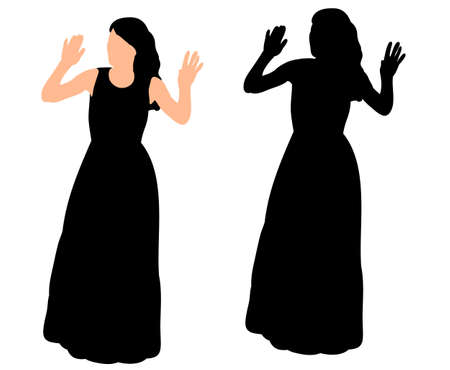 silhouette of a girl in a long dress dancing