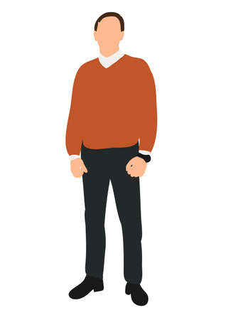 Vector, isolated, man in sweater Illustration