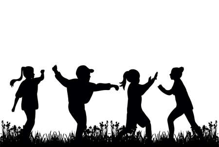 silhouette of children playing on the grass