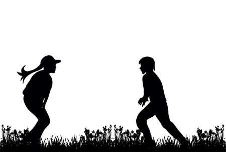 silhouette of children play and run on grass Векторная Иллюстрация